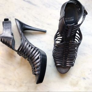 Stuart Weitzman Gray Caged Platform Heels